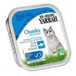 Kurczak dla kota z kawałkami ryby i spiruliną EKO 100g Yarrah