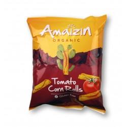 Chipsy kukurydziane ROLLS o smaku pomidorowym beglutenowe BIO 100g AMAIZIN