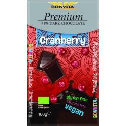 Czekolada Premium gorzka 71% z żurawiną bez laktozy bezglutenowa BIO 100g Bonvita